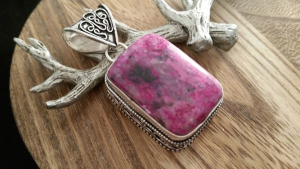 .925 Sterling Silver Natural Ruby Zoisite Gemstone Pendant