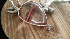 Large Natural Clear Red Phantom Lodalite Crystal Pendant