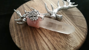 Silver Tree of Life Natural Clear Crystal Point Pendant
