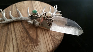 Silver Natural Crystal Point Moss Agate Pendant