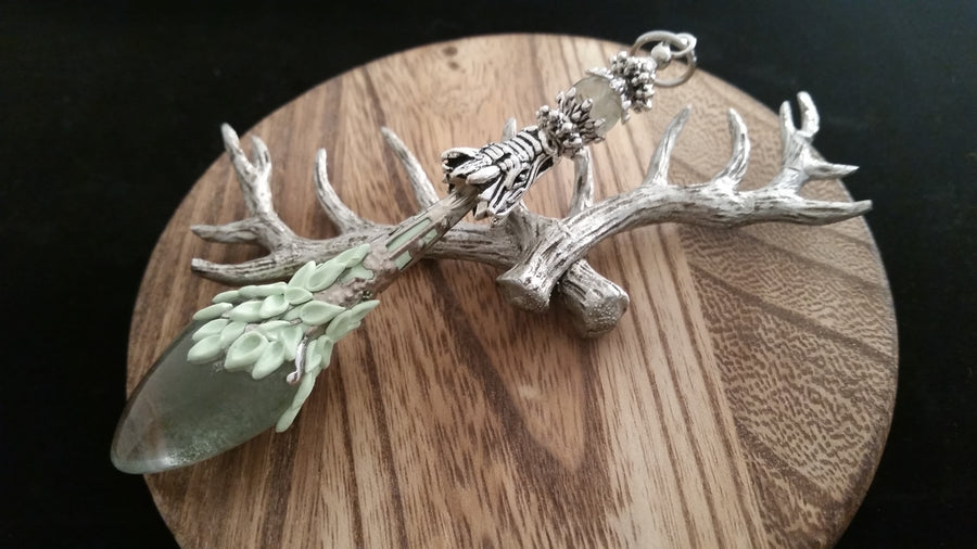Old World Antique Silver Dragon Natural Green Ghost Crystal Pendulum