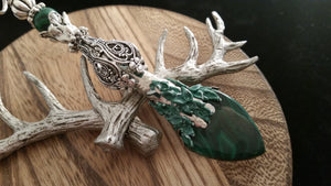 Old World Antique Silver Victorian Natural Malachite Gem Pendant Pendulum