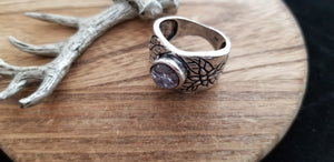 Large Wide Unisex Natural Amethyst .925 Sterling Silver Ring - Size 8