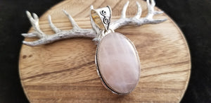 Large .925 Sterling Silver Old World Rose Quartz Pendant