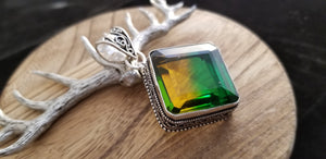 Large .925 Sterling Silver Old World Bi-Colour Topaz Pendant