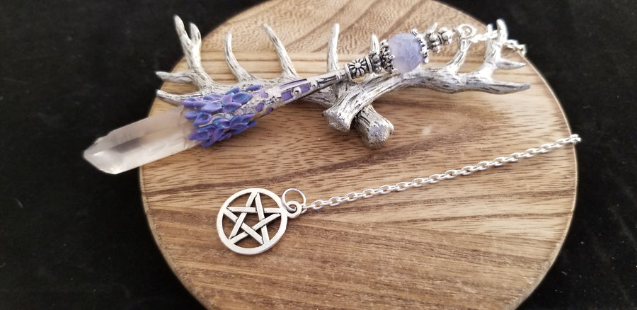 Old World Silver Pentacle Natural Crystal Point Pendulum
