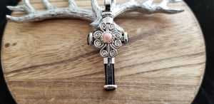 Swirled Silver Old World Round Rose Quartz Gem Cross Pendant