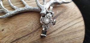 Swirled Silver Old World Round Moonstone Gem Cross Pendant