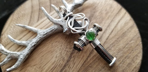 Large Silver Old World Knot Round Peridot Gem Cross Pendant