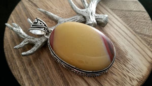 .925 Sterling Silver Large Natural Mookaite Gemstone Pendant