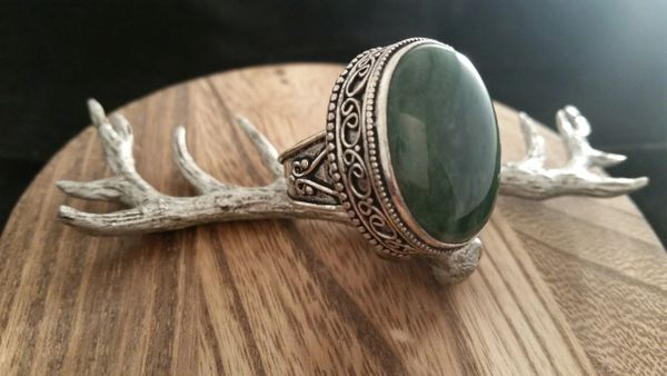 Old World Designed .925 Sterling Silver Moss Agate Gemstone Ring