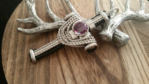 Large Silver Old World Swag Amethyst Cross Pendant