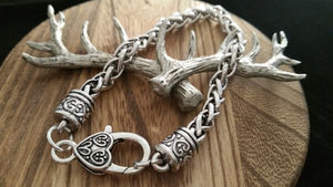 Antique Silver Unisex Braided Rope Celtic Heart Clasp Bracelet