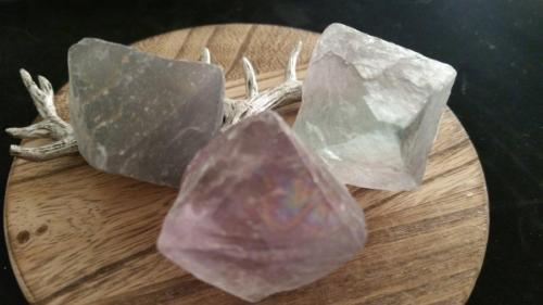 Lot of 3 Large Diamond Shaped Natural Fluorite Gems - 107.7 Grams