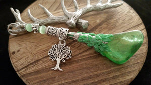 Old World Silver Tree of Life Green Aura Rainbow Crystal Pendulum