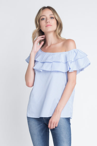 Striped Off Shoulder Ruffle Stripe Blouse