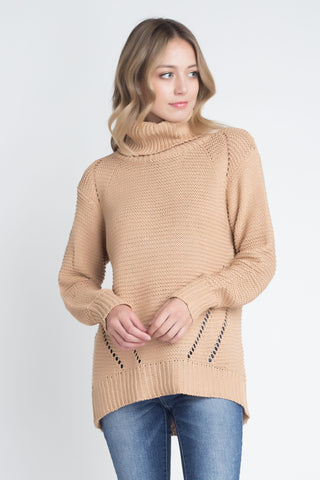 Loose Fit Hi-Low Turtleneck Sweater