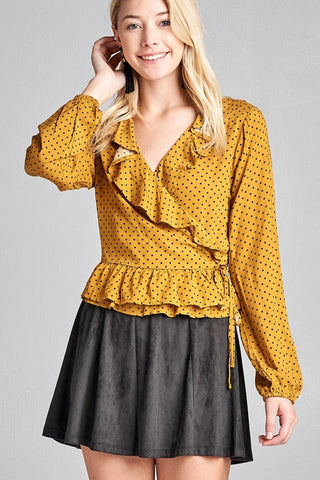 Long Sleeve Dot Print Woven Top w/ Ruffle Wrap & Side Ribbon Tie