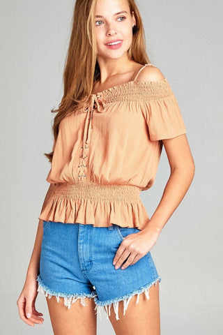 Open Shoulder Smocked Top w/ Eyelet - Apricot