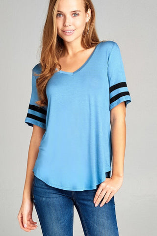 Short Sleeve Double Stripe V-Neck Top - Horizon Blue