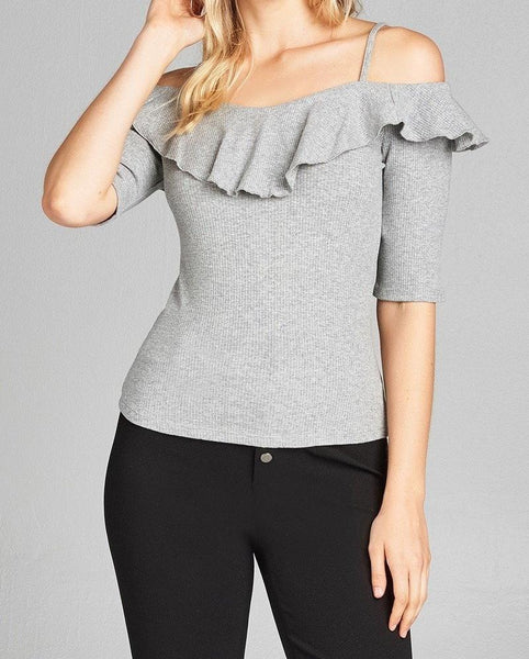 Elbow Sleeve Open Shoulder Ribbed Top w/ Ruffles - Grey