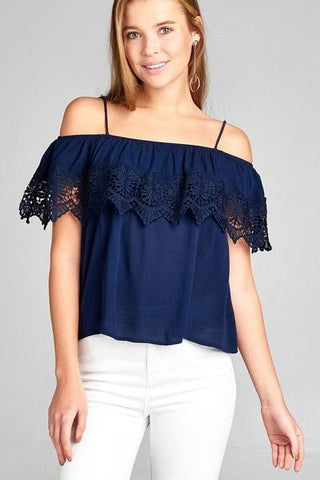 Open Shoulder Flounce Top w/ Crochet Lace Crinkle Gauze
