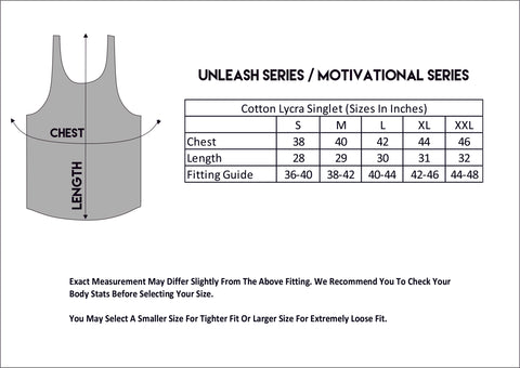 Stringers Sleeveless Size Chart