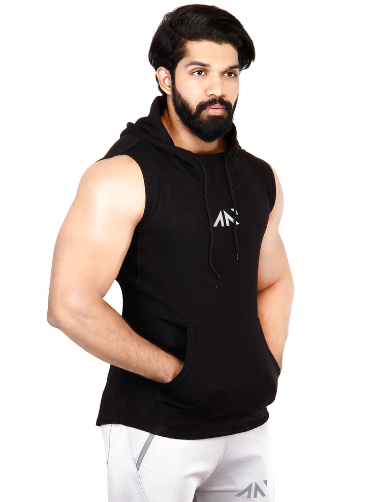 LEGACY - SLEEVELESS HOODIE BLACK Men's - AestheticNation