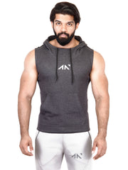 LEGACY - SLEEVELESS HOODIE CHARCOAL Men's - AestheticNation