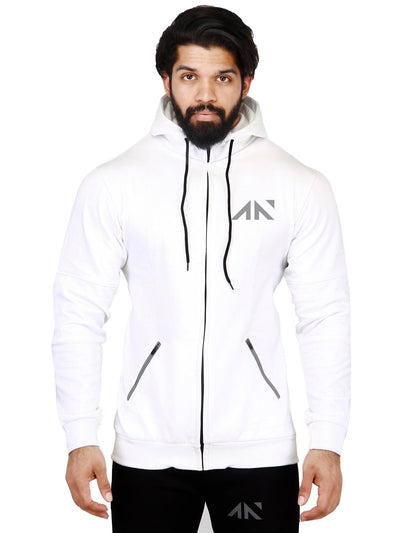FLEECE HOODIE WHITE Men's - AestheticNation