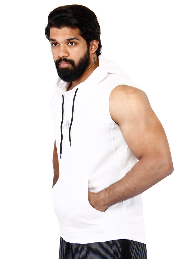LEGACY - SLEEVELESS HOODIE WHITE Men's - AestheticNation