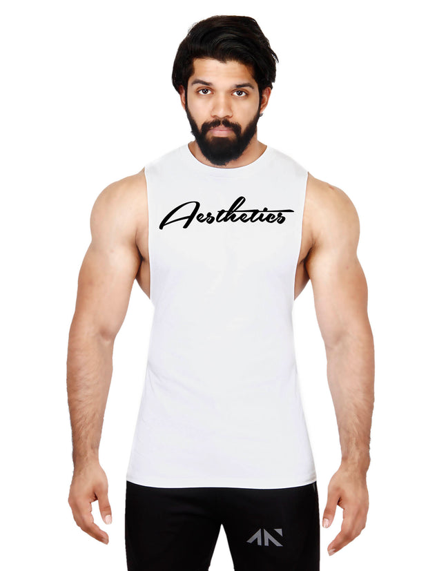 DEEPCUT AESTHETICS WHITE SLEEVELESS Sleeveless Tees - AestheticNation