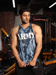 DIGI CAMO ARMY BLUE SLEEVELESS Sleeveless Tees - AestheticNation