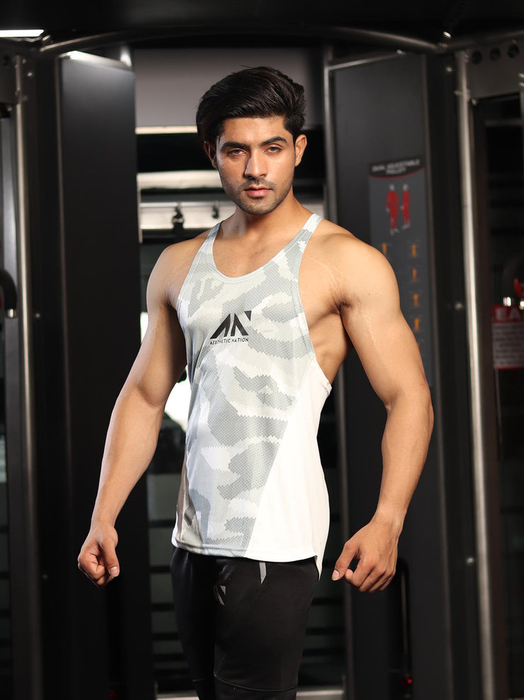 COOLDRY CRITICAL WHITE CAMO Singlets - AestheticNation