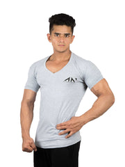 V NECK TSHIRT GREY Tshirts - AestheticNation