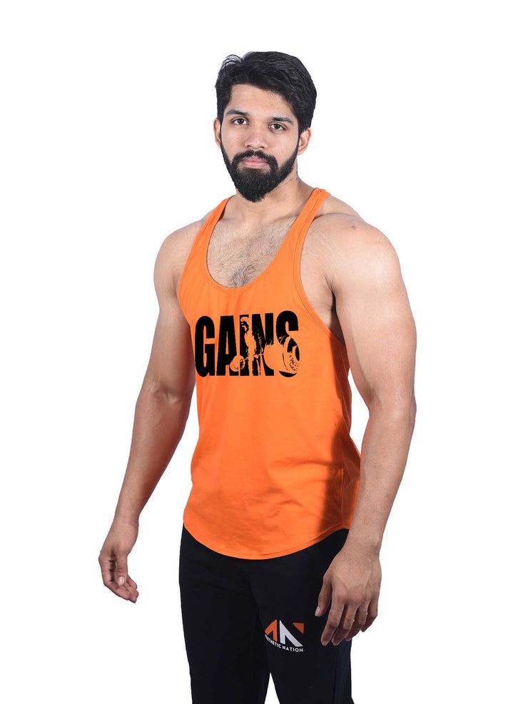 GAINS - ORANGE STRINGER Men's - AestheticNation