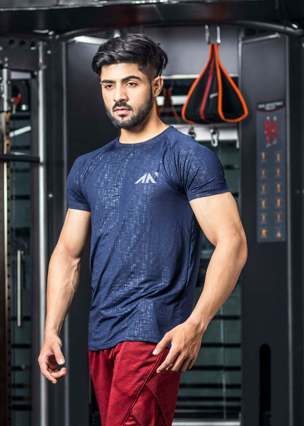 COOLDRY - NAVY EMBOSSED TSHIRT Men's - AestheticNation