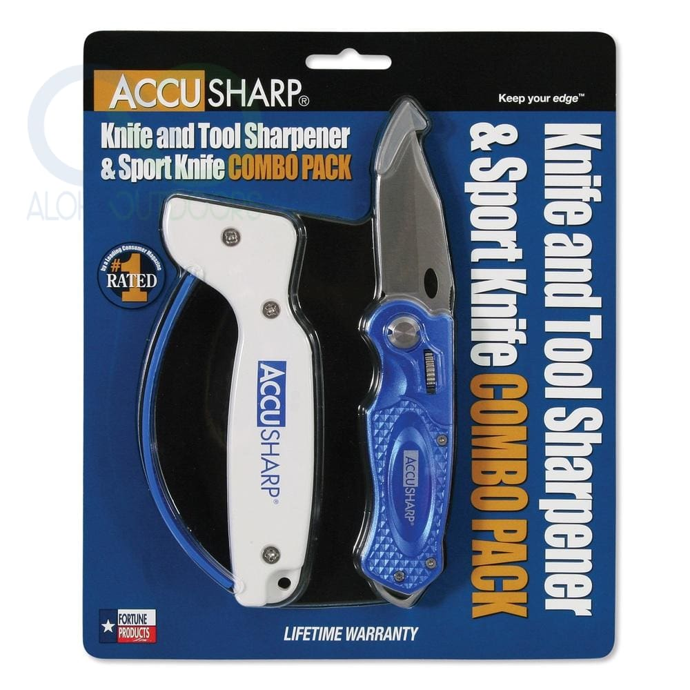 Accusharp Sharpener And Sport Folding Knife Combo - Blue