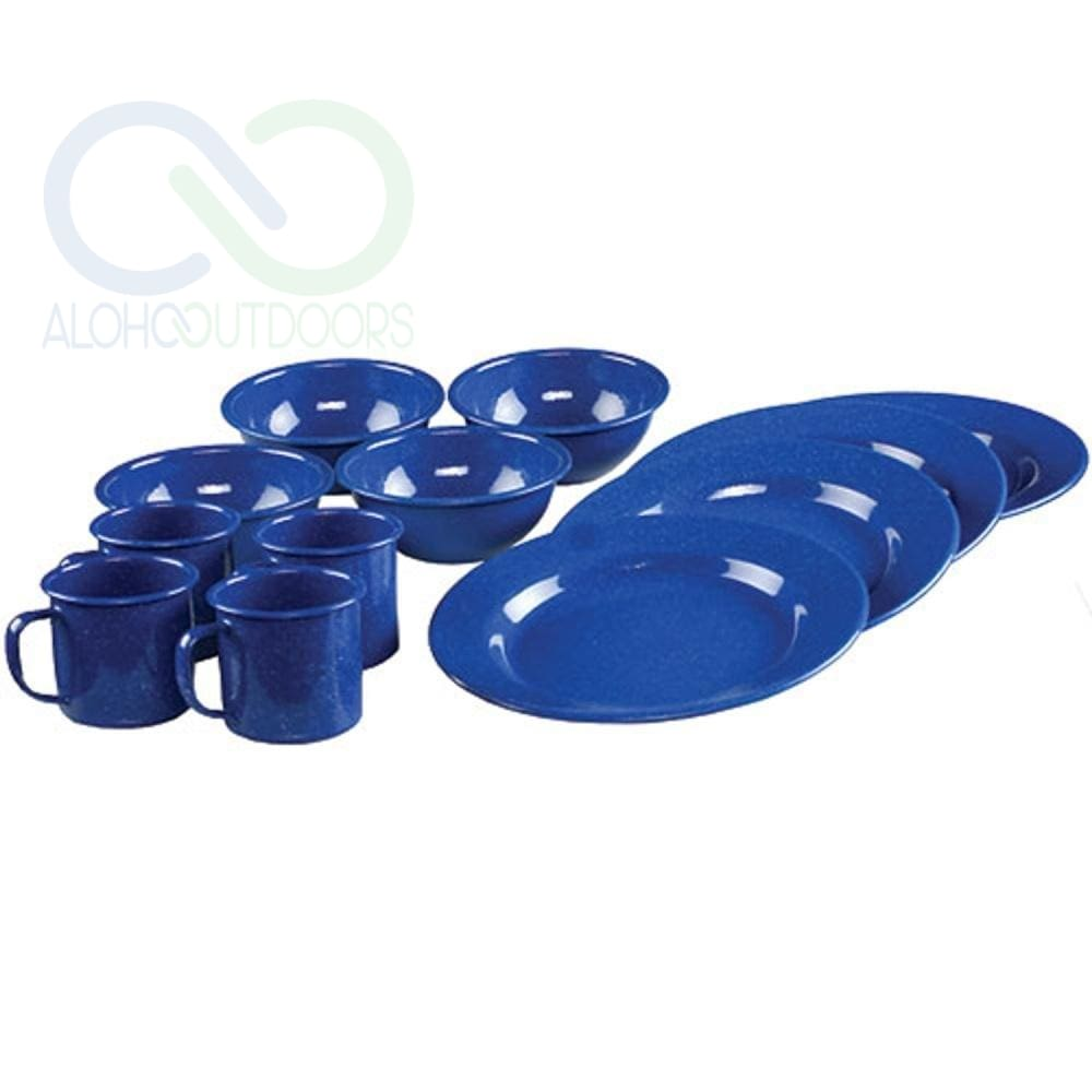 Coleman 12 Piece Enamelware Dining Set Blue 2000016404
