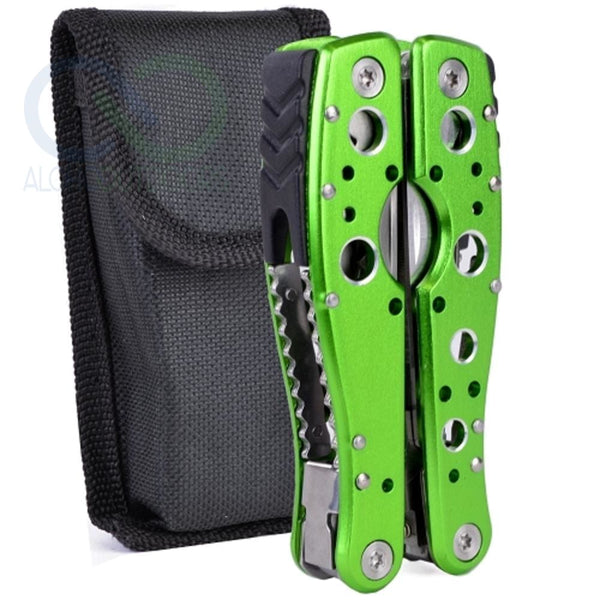 Jakemy Jm-Pj1003 9-In-1 Multi-Tool Folding Pliers W/knife, Saw, Bottle Opener, Screwdriver Bit, File & Case (Green)