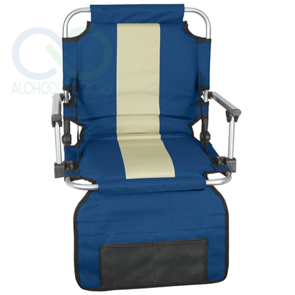 Stansport Stadium Seat With Arms - Blue/ Tan Stripe
