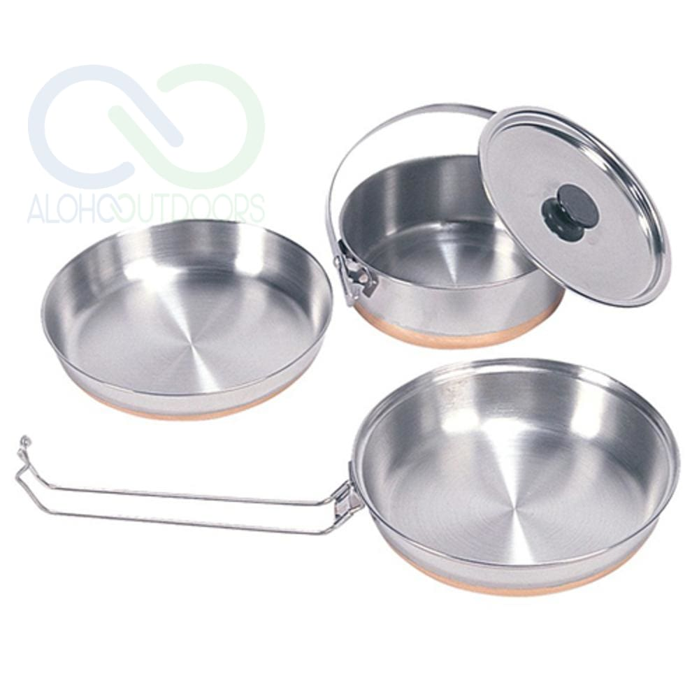 Stansport Stainless Steel Mess Kit -1 Pan 1 Saucepan 1 Plate