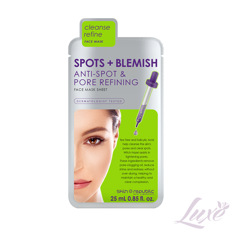 Skin Republic Spots + Blemish, Anti-spot & Pore refining face mask