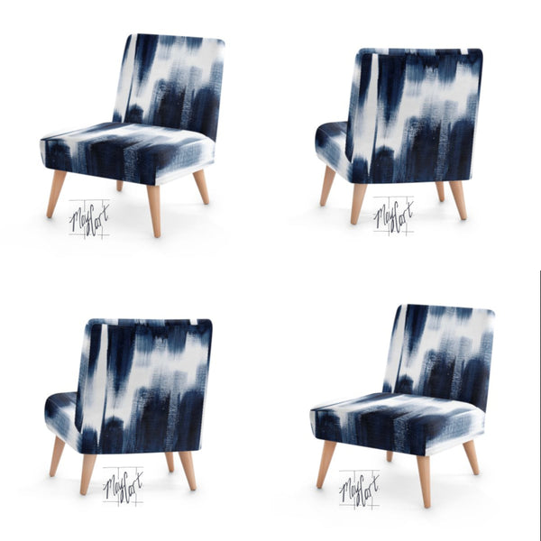 midnight blue brushstrokes upholstered chairs with optional ottoman