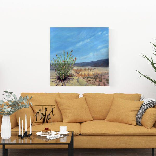 "desert landscape - ocotillo on the road to Terlingua-giclees-May Cart Print Art-36"" x 36"" gallery wrapped canvas-"