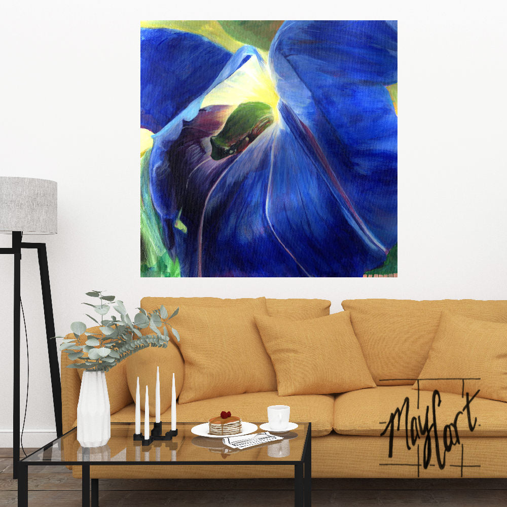 "tree frog in morning glory-giclees-May Cart Print Art-24"" x 24"" gallery wrapped canvas-"