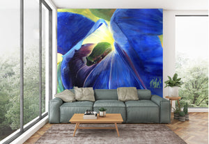 tree frog in morning glory oversize prints & mural