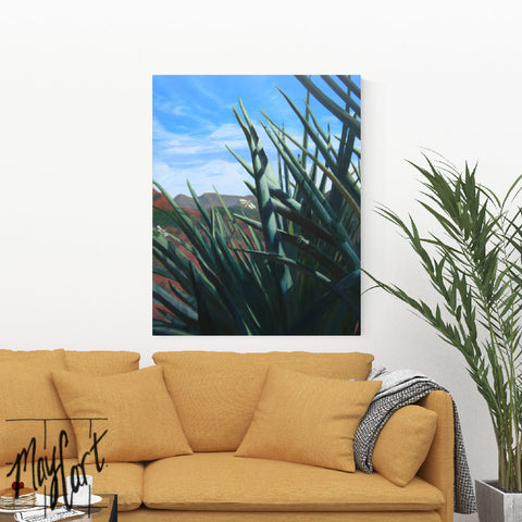 "desert landscape of yucca plants and moths-giclees-May Cart Print Art-24"" x 30"" x 1.5"" gallery wrap canvas-"