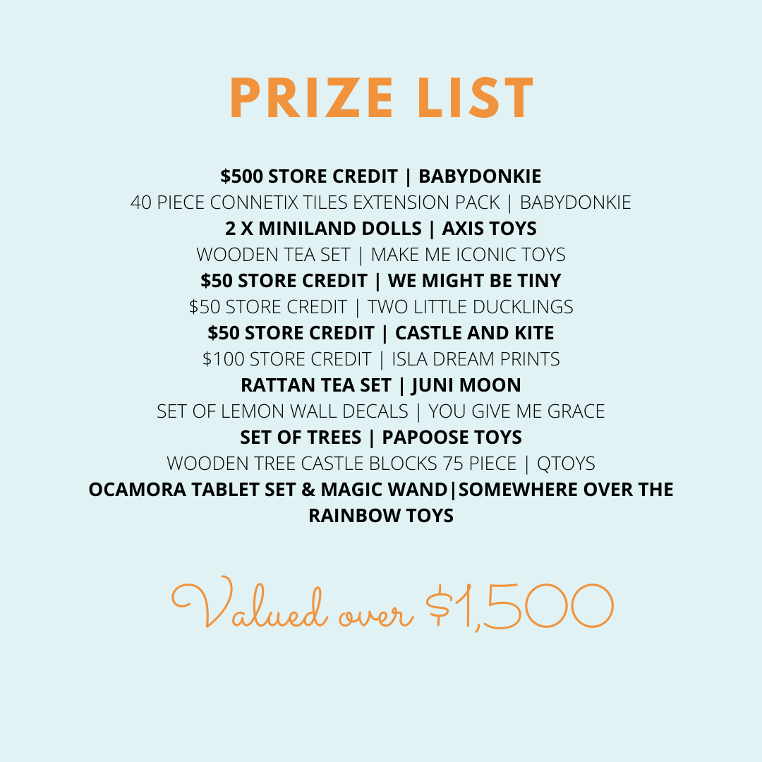 BabyDonkie Playspace giveaway prize list