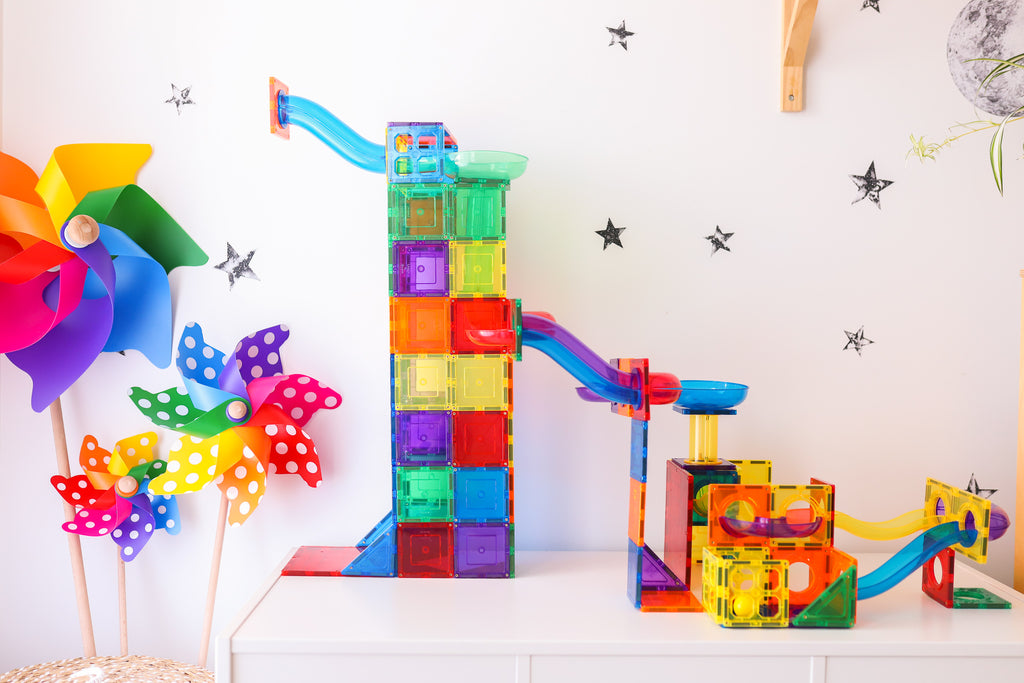 Learn a& Grow Marble run in playroom with colourful pinwheels